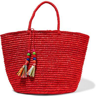 Sensi Studio - Maxi Woven Toquilla Straw Tote - Red