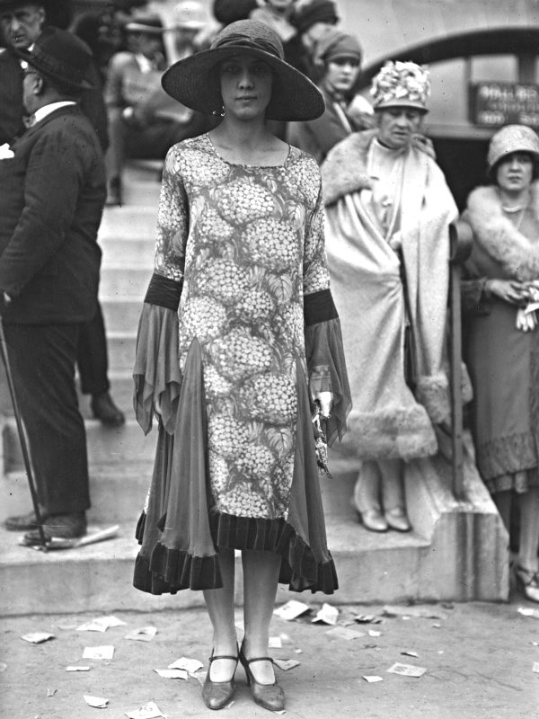 Eye-catching skirt and sleeves. Circa 1920's