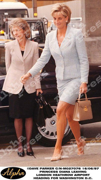 June 16, 1997:  Diana, Princess of Wales at Heathrow Airport, London.