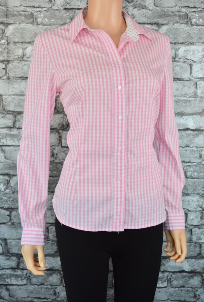 f611a7f7 Women's Pink White Checked Collared Cotton Long Sleeved Blouse Shirt ...