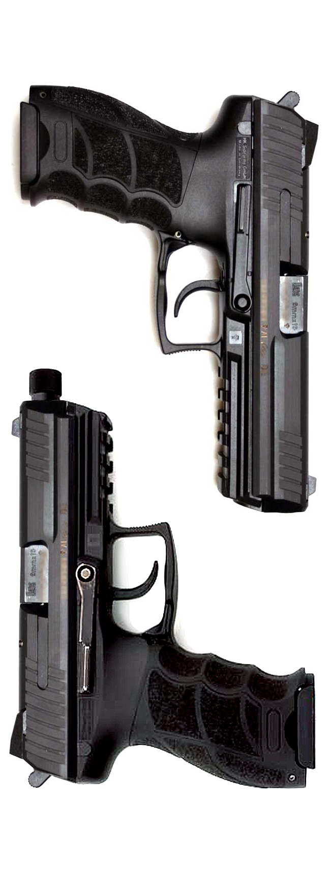 HK P30L (Longslide) and P30 with threaded barrel. John Wick, the movie, features the titular hero, played by Keanu Reeves, carrying one of these with a compensator.