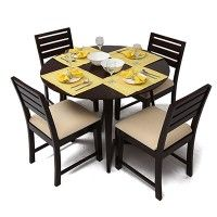 Aurelio 4 Seater Dining Table Set Rs 22,850 Material: Sheesham Wood Color/Finish: Mahogany Finish