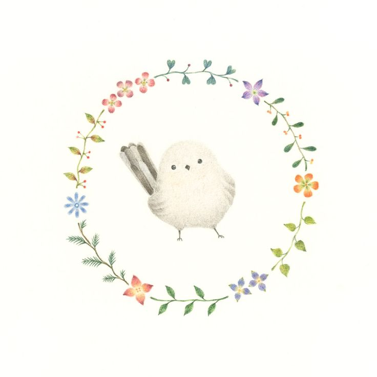 """Little White Bird and Wreath"" −RiLi, picture book, illustration, design ___ ""白色の小鳥と花の輪"" −リリ, 絵本, イラスト, デザイン ...... #Illustration #Bird #White #Wreath #イラスト #鳥 #白 #花輪"