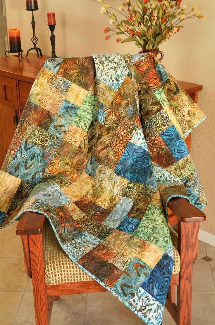 Batik Quilt in Blues and Browns, Batik Lap Quilt, Quilted Sofa Throw, Bakari Batiks, Quilt Gift for Him or Her, Quiltsy Handmade by SusiQuilts on Etsy
