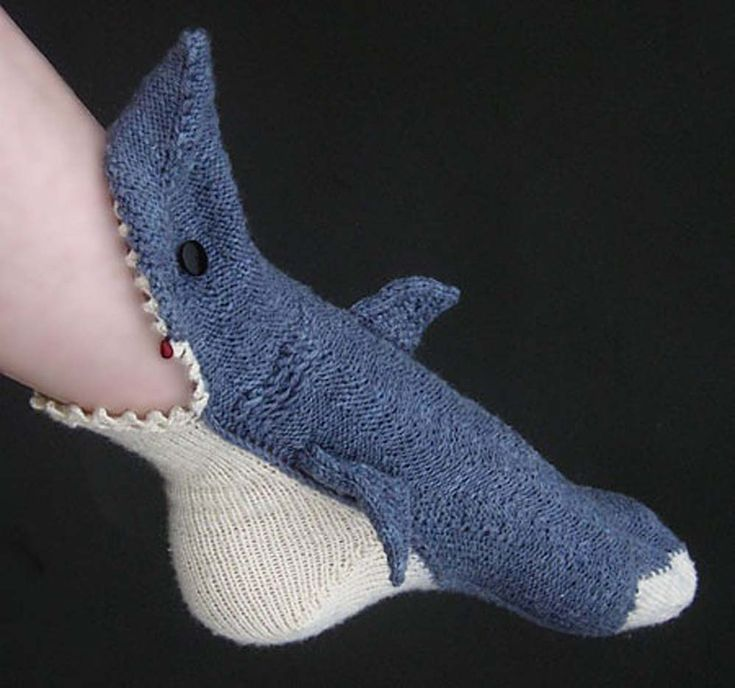 Crocheted Shark Slipper Socks (etsy)
