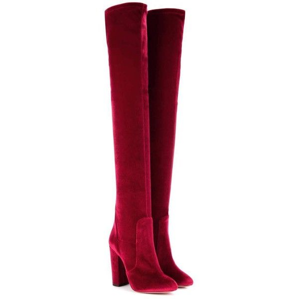 Aquazzura Velvet Over-the-Knee Boots ($950) ❤ liked on Polyvore featuring shoes, boots, heels, red, above the knee boots, over-knee boots, red thigh boots, above-knee boots and over the knee boots