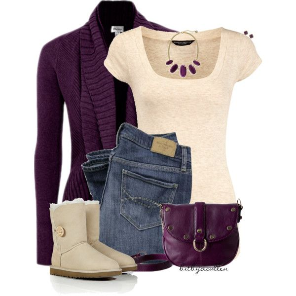 Comfy & Cute Purple Cardi by bitbyacullen on Polyvore featuring polyvore, fashion, style, Dorothy Perkins, UGG Australia, Rebecca Minkoff, Kendra Scott, Carolee and clothing