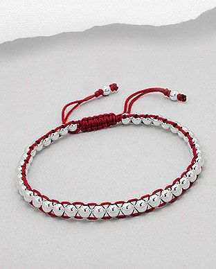 Red Friendship Bracelet with Sterling Silver by SunshineNShowers, £18.00