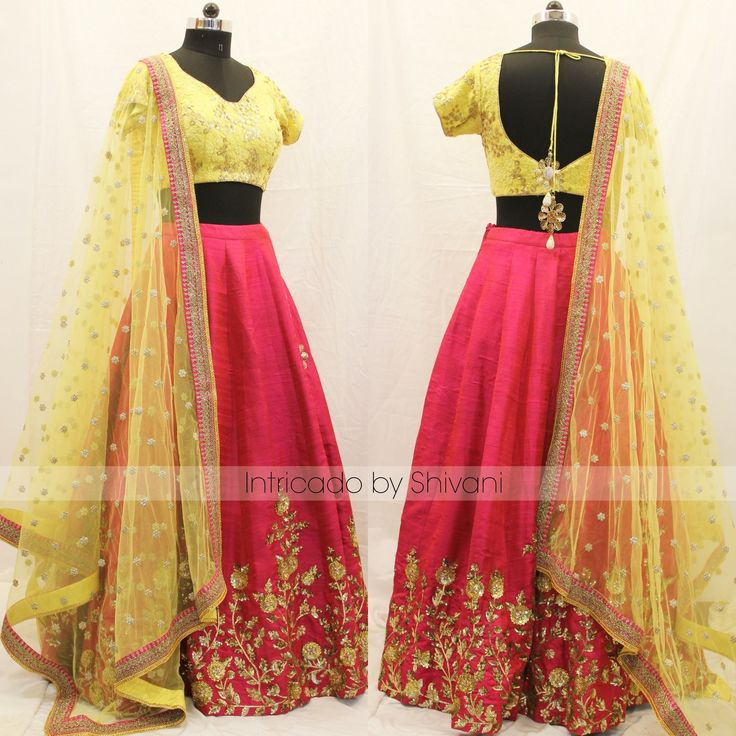 Beautiful pink color lehenga and sun shine yellow color blouse with net dupatta. Lehenga and blouse with hand embroidery gold thread work. 16 January 2018