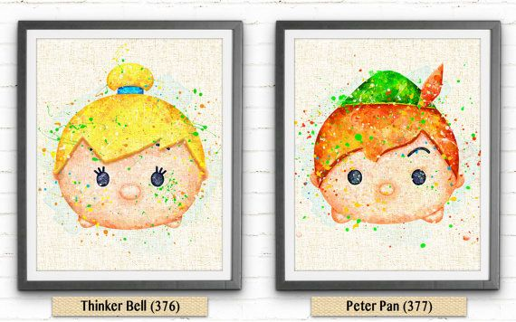 Tsum Tsum Disney Peter Pan Watercolor Art Burlap par NeighborArts