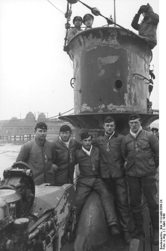 Crew Members of Submarine U 50 (March 2, 1940)   Of all the branches of the German military, the navy [Kriegsmarine] was the least prepared for the start of the war in September 1939. Despite intensified rearmament from 1935 on, the German navy was no match for Great Britain's far superior Royal Navy. In addition to securing the Baltic Sea and the coasts of the North Sea, the German navy's main task was cutting off the supply routes of the Allies, mostly Great Britain.