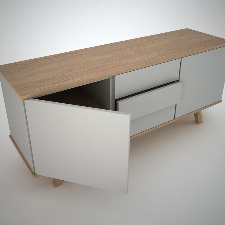 contemporary sideboard in oak and clay