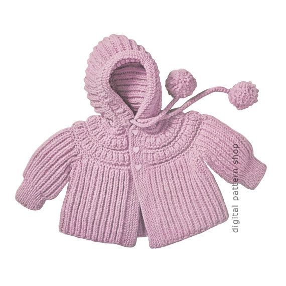 Knitting Vintage Things : Knit baby hoodie pattern s vintage by