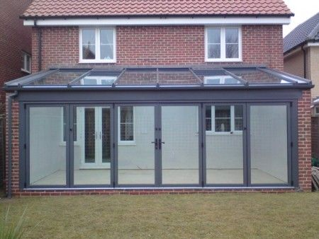 Contemporary conservatory love love love the grey for Conservatory kitchen extension ideas