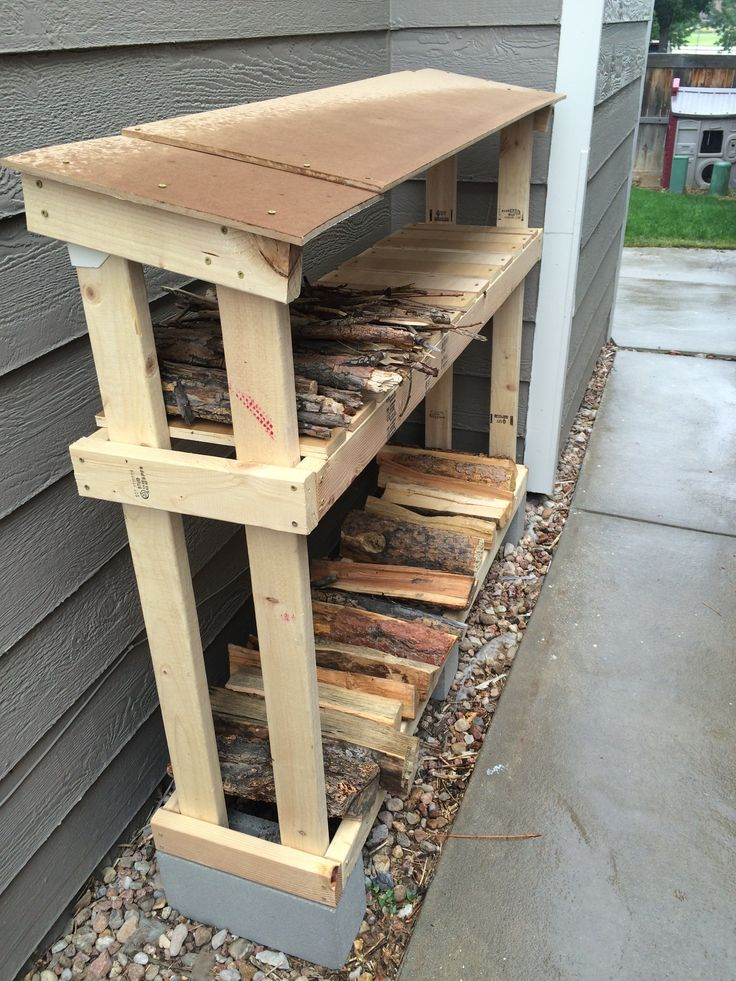 Firewood Storage that is easy to make and keeps wood dry and out of the snow.