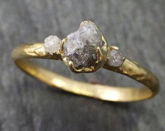 Brut brut de bague de fiançailles diamant 14k or par byAngeline