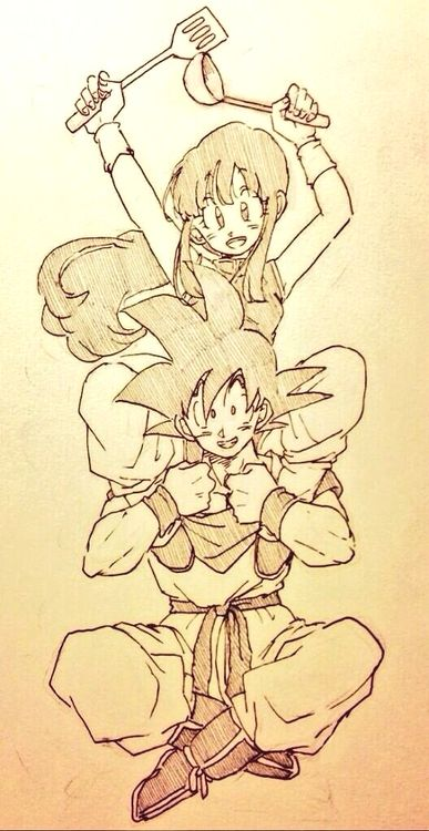 DBZ Goku and Chichi DBついろぐ32 | しぃの実 http://www.pixiv.net/member_illust.php?mode=medium&illust_id=45524112