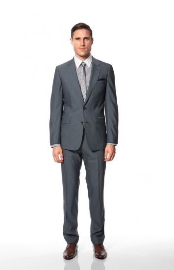 Calibre - Jefferson Suit | Newton Stripe Shirt | Salem Skinny Tie | Lamar Dress P/S | Tan Dress Belt | Michael Brogue Shoe