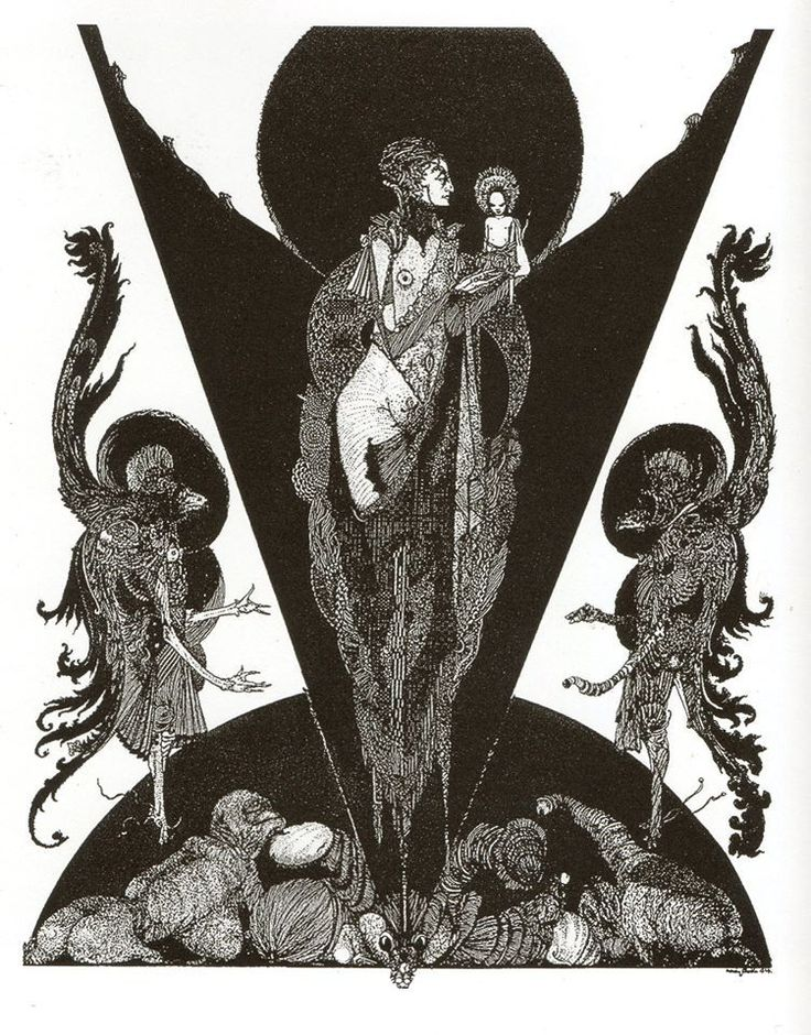 """ASSertive DISCIPLINE  """" Harry Clarke (1889 - 1931) The Devil's Wife and her Eldest, pen and ink, reproduced in The Golden Hind, 1924 """""""