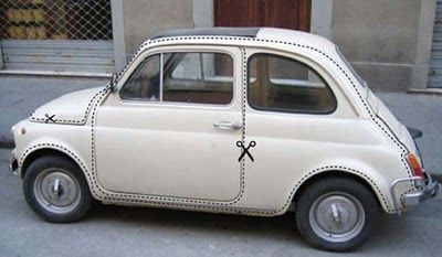 fiat 500 with a funny sticker
