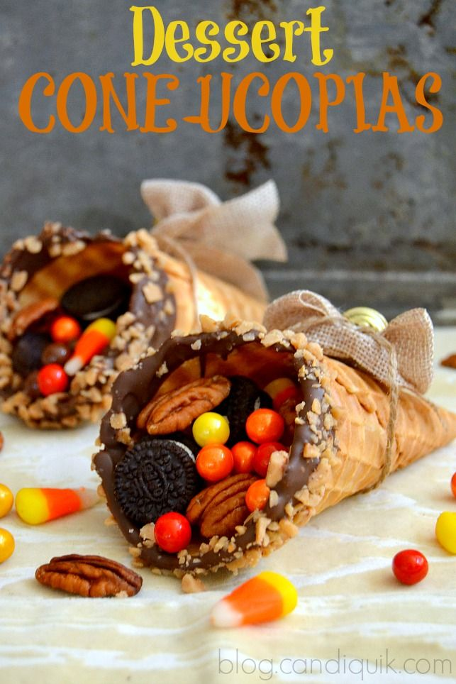 Dessert Coneucopias - the cutest and easiest recipe for Thanksgiving! Simply fill dipped waffle cones with an assortment of dried fruit, nuts, candies or cookies and you have a gorgeous and edible centerpiece or table setting! #candiquik #misscandiquik #thanksgiving