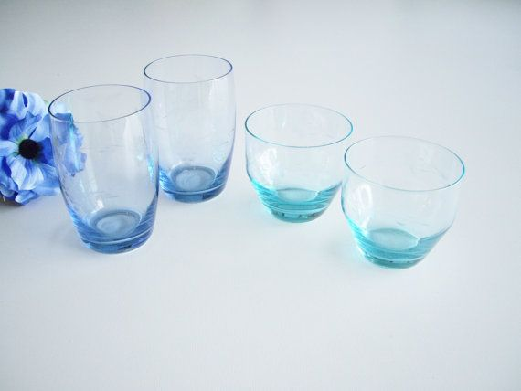 Vintage  Juice Glasses Turquoise and Blue Drinking Glasses Set