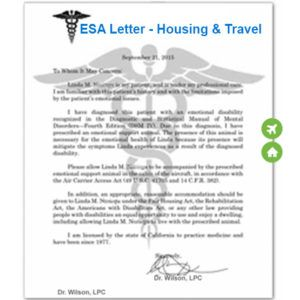 Emotional Support Animal Letter for Airlines & Housing