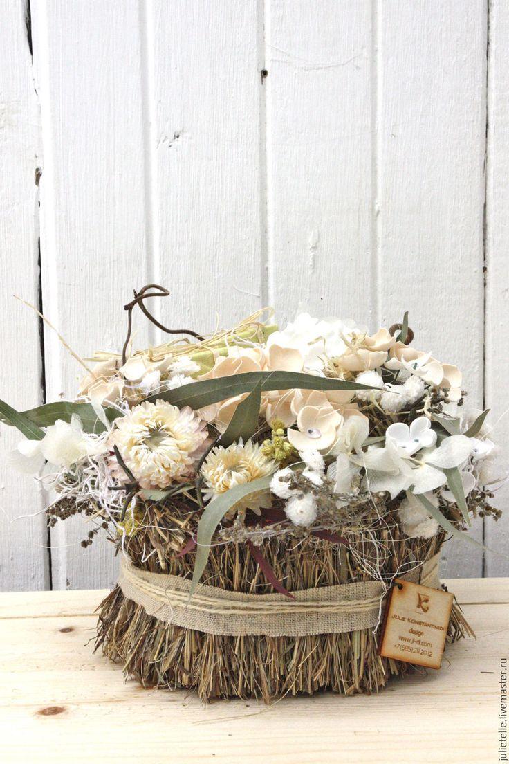 Купить Интерьерная композиция - бежевый, белый, интерьерная композиция, композиция из цветов, украшение дома