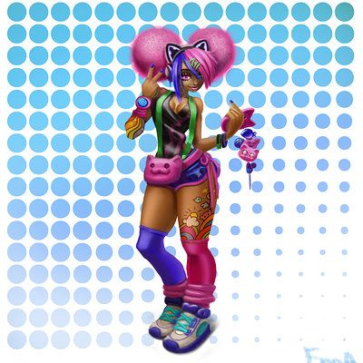 enna artist - Girl with pink hair, fashion, cool, 2d art