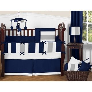 Shop for Sweet Jojo Designs Navy Blue and Grey Striped Microfiber Collection 9-piece Crib Bedding Set. Get free delivery at Overstock.com - Your Online Baby Bedding Shop! Get 5% in rewards with Club O!