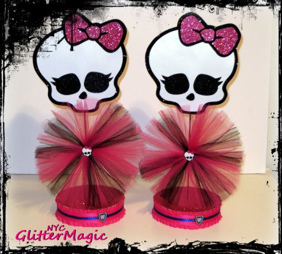 Monster High Centerpieces - Monster High Inspired Party - Monster High Party Decoration - Monster High Skulls - SET OF 2 & 12 best Monster Party images on Pinterest | Monster high party ...