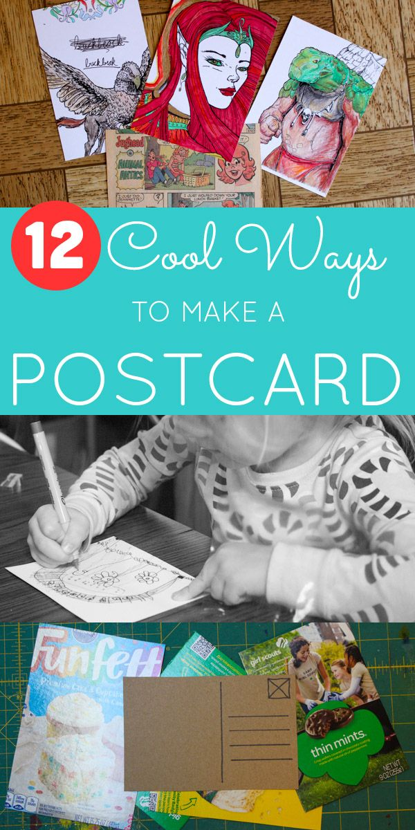 Mail the love, Friends! Whether it's a piece of original art or an upcycled cupcake box, homemade postcards are a great way to let your loved ones know that you're thinking of them.Glue & Glitter