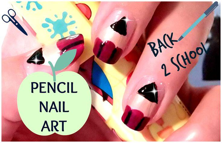 Back To School Nails - Pencil Nail Art - Modele Unghii Acasa -Tutoriale ...