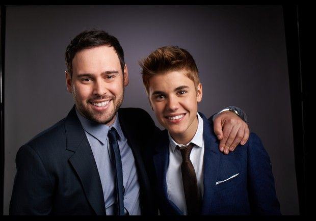 Justin Bieber and Scooter Braun on Forbes meg. cute pic :)