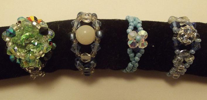 Bagues en perles de rocaille, et cristal Swarovski