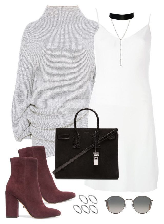 """""""Untitled #882"""" by jennifer1297 ❤ liked on Polyvore featuring STELLA McCARTNEY, Givenchy, Yves Saint Laurent, Gianvito Rossi, Ray-Ban, ASOS, suede, slipdress and fallwinter16"""