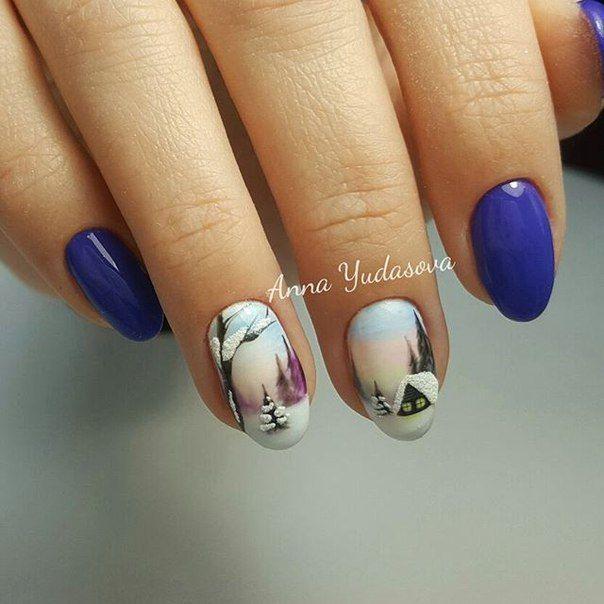 Blue nails christmas winter nails