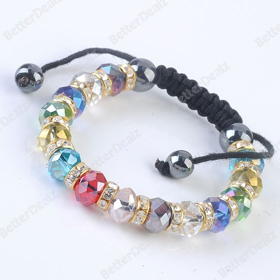Faceted Crystal Glass Bracelet BraceletMix Faceted Crystal Glass Hematite Rondelle Beads Macrame Woven Bracelet 1PC