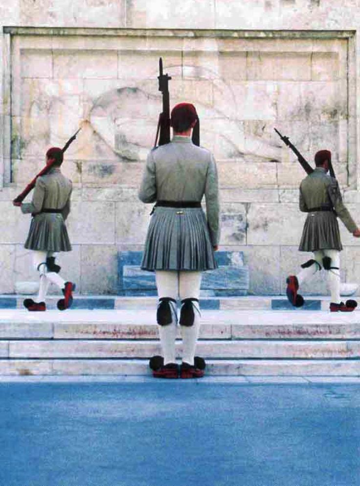 --- FLERIA MARKET ---   The Evzones is a special unit of the Hellenic Army, also known as Tsoliades, who guard the Monument of the Unknown Soldier in front of the Hellenic Parliament and the Presidential Mansion. Greece inspires... Handmade collage.  #Athens #Greece# www.fleria.gr/category/our-story/