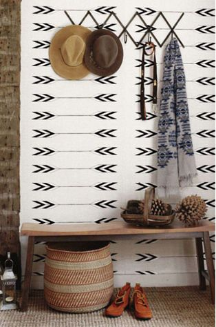 Azteckie wzory w przedpokoju