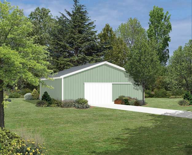 This large pole barn offers extra space as a garage for Large pole barn