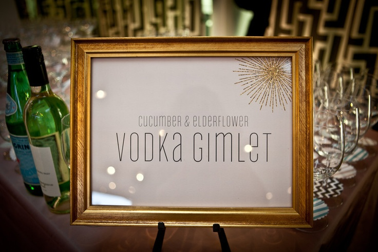 Signature cocktail sign from our Party Decor Launch Party