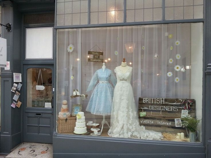 The Bridal Emporium, Leeds, England. Bridal shop specialising in 50s tea length wedding dresses, British designers and in house bridal range. Window display, window dresser, visual merchandise.