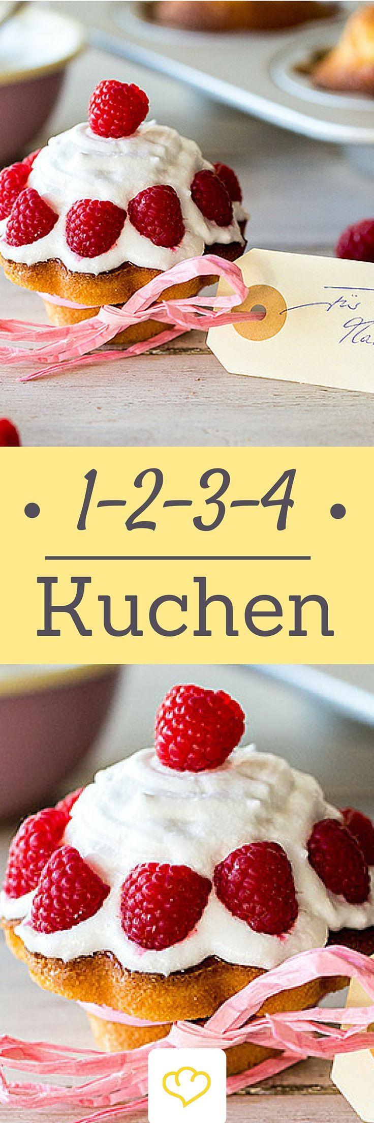 1-2-3-4 Kuchen:  Jeweils 1 Tasse Butter und Milch, 2 Tassen Zucker, 3 Tassen Mehl und 4 Eier reichen aus, um einen lockeren und saftigen Rührkuchen zu backen.