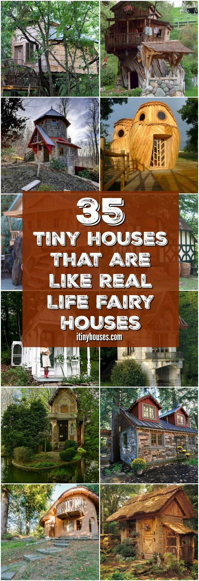 "These 35 Enchanting Tiny Houses Look Just Like Real Life Fairy Houses - If you've been looking to beautify your lawn or garden this year, chances are good you've stumbled across one of this year's biggest landscaping trends: tiny fairy houses. These imaginative little structures include all kinds of whimsical details, and can bring magic into any garden. But do you ever look at the fairy house in your garden and think, ""Why can't I live in a magical fairy house like that?"""