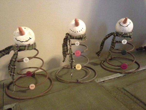 uses for old metal bed springs | Metal Spring Snowman.