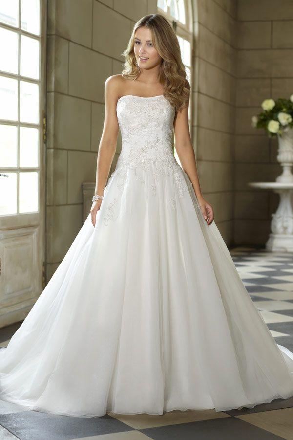 Prinzessin Organza Satin Hof-Schleppe elegantes trägerloses Brautkleid