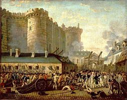 La menace d'un complot aristocratique suite à la réunion des états généraux, la nouvelle du renvoi du ministre Necker, le 11 juillet, dénoncé par Camille Desmoulins comme le « tocsin d'une Saint-Barthélemy des patriotes », suscitent une vive émotion dans le peuple parisien, alors que se profile le spectre de la disette et que le roi a massé des troupes autour de Paris. - See more at: http://www.histoire-image.org/site/oeuvre/analyse.php?i=140#sthash.s2yvC4q6.dpuf