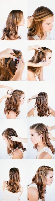 Waterfall hair style! Cute! Love how the curls act like actual rushing falling water! Sød sommer konfirmant frisure.!!!!!!