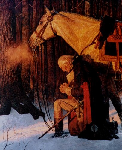 General George Washington, on his knees, praying with his troops at Valley Forge, Pennsylvania, during the American Revolution.